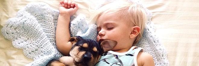 Každý den nový snímek: batole a dvouměsíční štěňátko
