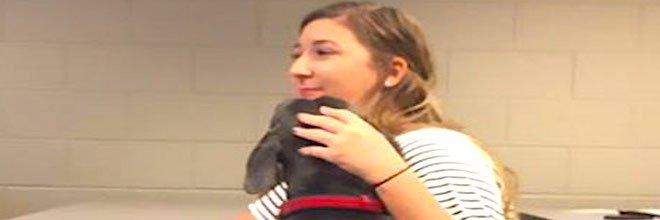 """Dívka prosila svého učitele, aby mohla na výuku přijít se psem, aby nebyl během hurikánu sám doma, jeho odpověď nás """"dostala"""""""