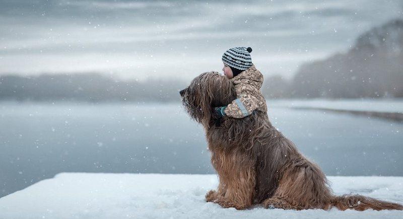 Dítě se psem, zima