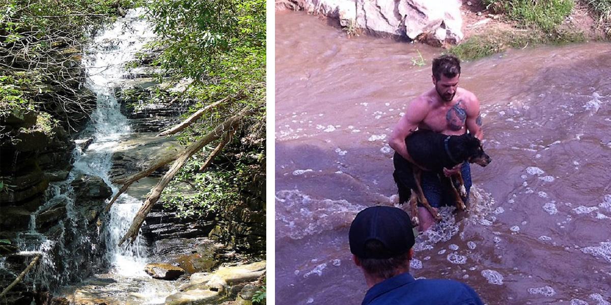 Cizinec z peřejí zachránil topícího se 13ti letého psa