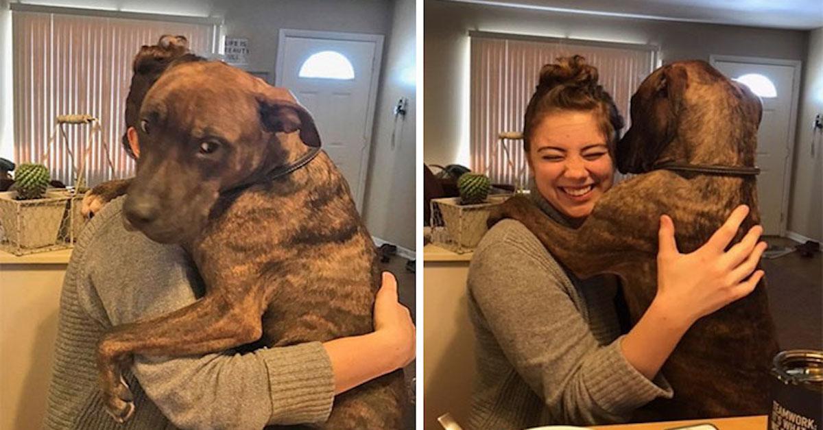 Před rokem zachránila psa, ale ten ji stále nepřestal objímat