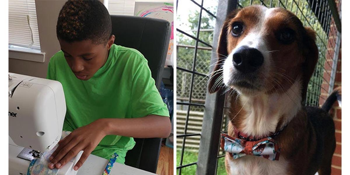 Chlapec (12) vyrábí stylové motýlky pro psy, aby mohli najít nový domov