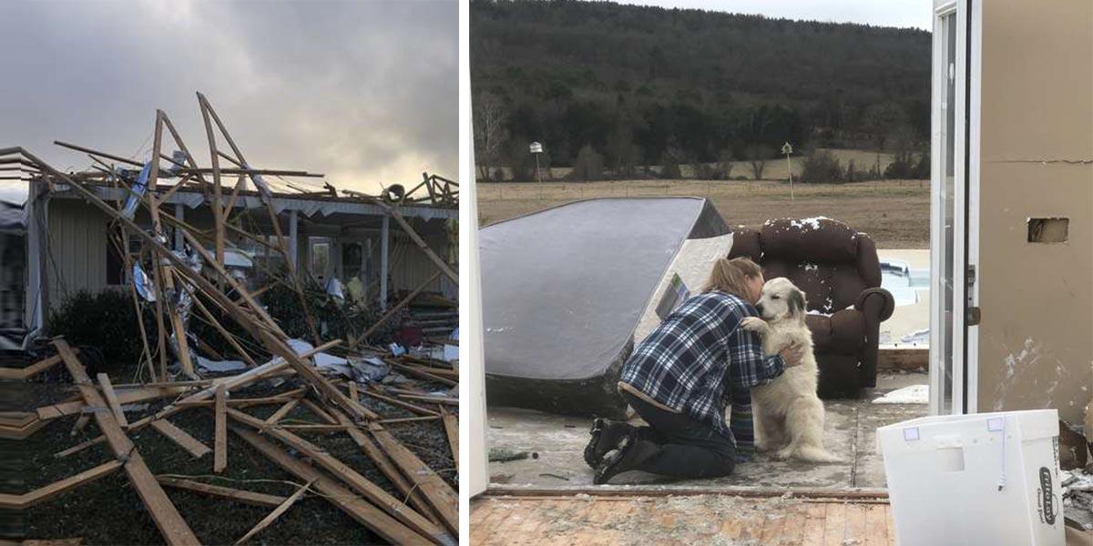 Úžasné shledání majitelky a jejího psa po tornádu, které nás zahřálo u srdce...